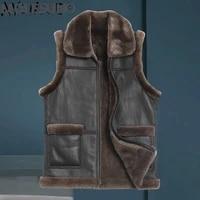 akoosun men clothing genuine leather jacket mens vest autumn fur coat mens jackets warm 100 wool vests ropa hombre lxr436