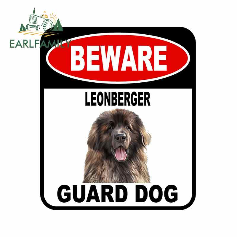 EARLFAMILY, 13cm x 11cm, BEWARE LEONBERGER GUARD, pegatina de perro para coche, cubierta, rasguños, signo compuesto, etiqueta de perro mascota