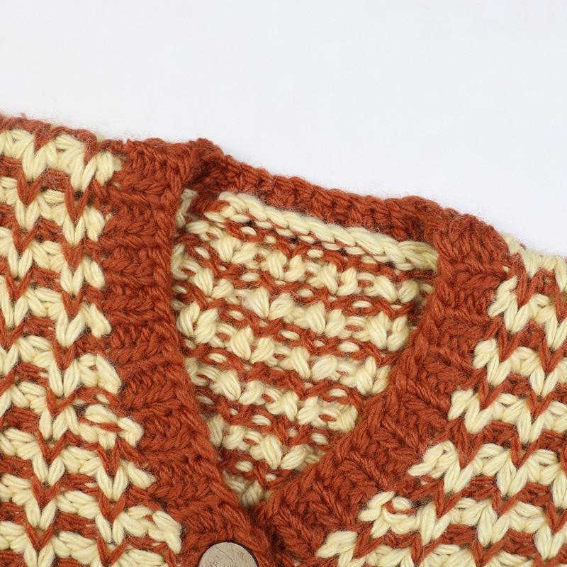 SHUCHAN Knit Oversized Sweater Women High Street Coarse Yarn  A-straight  Geometric Single Breasted  Thick Winter Cardigan Women enlarge