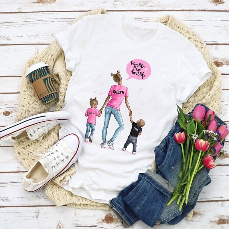 Camiseta veraniega con estampado gráfico de Mamá, Mamá, Reina, niña y niño para mujer