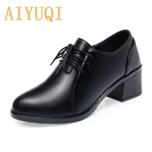AIYUQI Women Shoes Spring New Relly Leather Women Shoes Large Size Non-slip Thick Heel Soft Bottom L