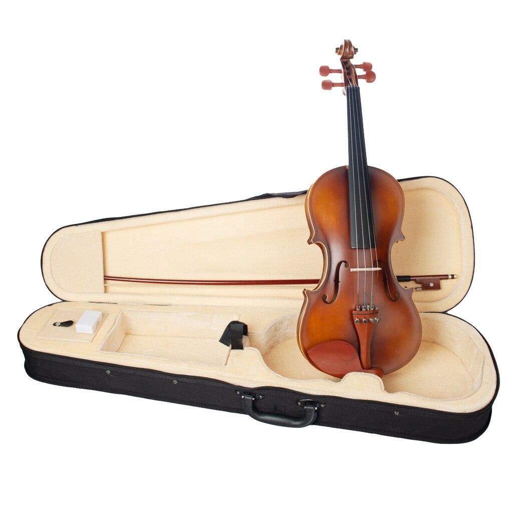 Violín acústico de tamaño completo profesional 4/4 con estuche rígido, Arco y colofonia instrumento de cuerda de arco (marrón)