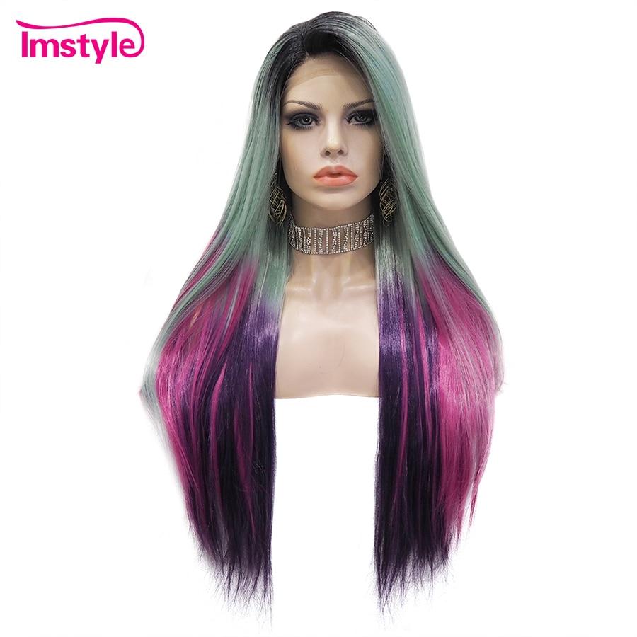 Imstyle vert rose violet perruques pour les femmes couleur mixte droite synthétique dentelle avant perruque résistant à la chaleur fibre partie Ombre perruque
