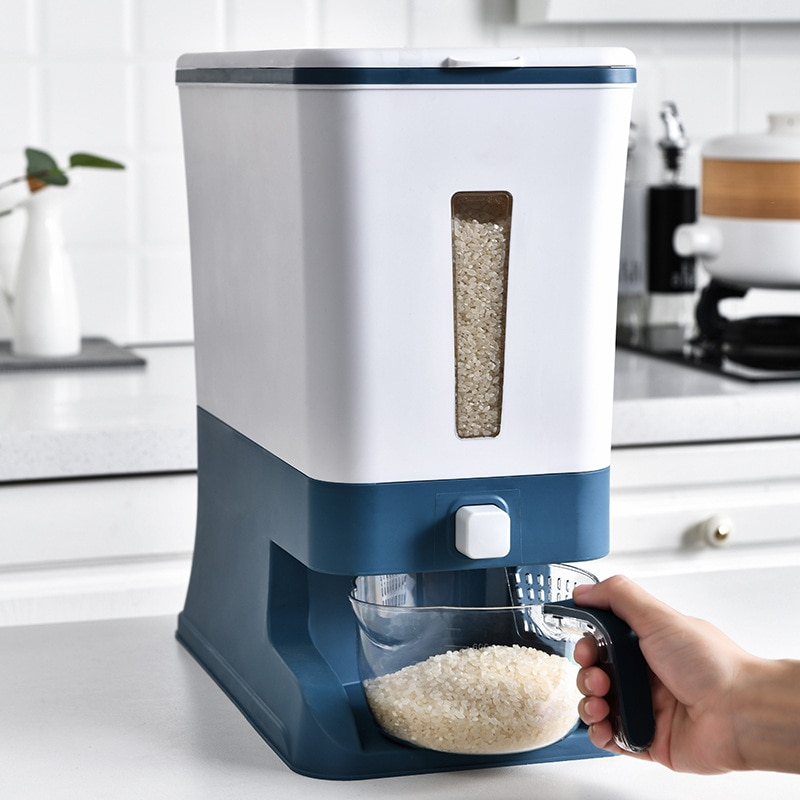 12 كجم أرز حبوب الغذاء الحاويات مختومة الأرز دلو صندوق توزيع شفاف مقاوم للرطوبة الحبوب مسحوق صناديق التخزين