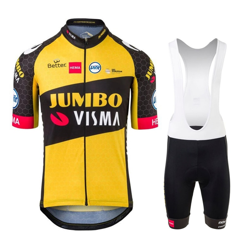 JUMBO VISMA-Conjunto de ropa de ciclismo profesional para hombre, camisetas y pantalones...