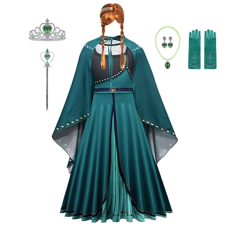 Anna Dress for Girl Christmas Childrens Party kids Halloween Carnival Costumes Snow Queen 2 Elegant