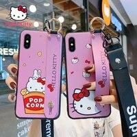 hello kitty for iphone xxsmaxxr cartoon wristband hanging neck cute anti drop silicone phone case