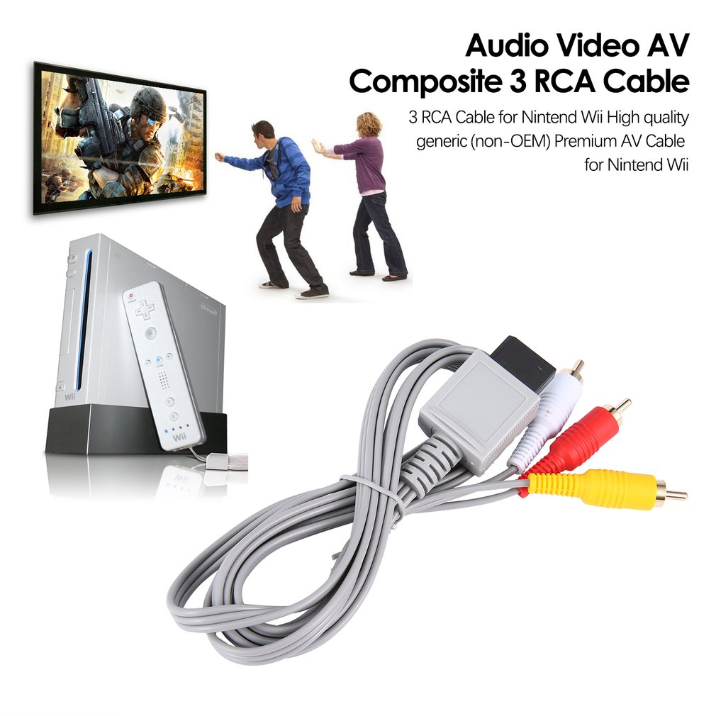 1,8 metros chapado en oro Audio Video AV compuesto 3 RCA Cable...