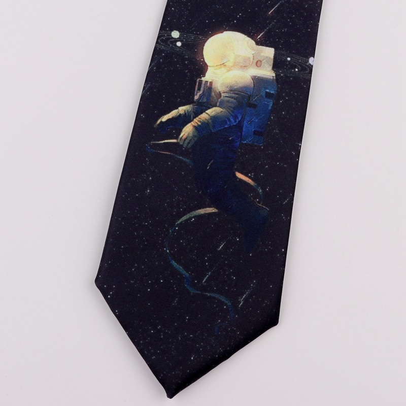 Free Shipping New Male men's unique fashion Printed tie retro casual personality literary female student space astronaut necktie