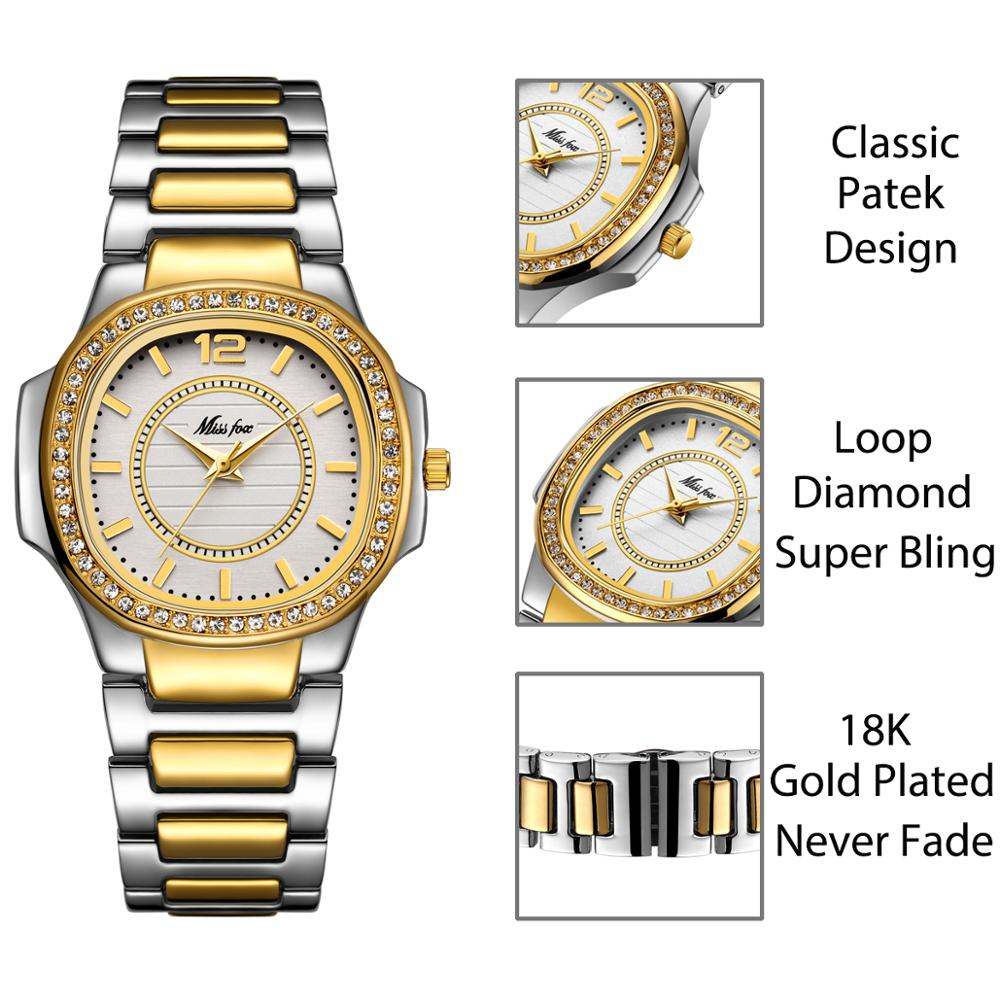 MISSFOX Patek Women Watches Fashion Brand Elegant Ladies Diamond Watch Female Metal Steel 30M Waterproof Queen Quartz Wristwatch enlarge