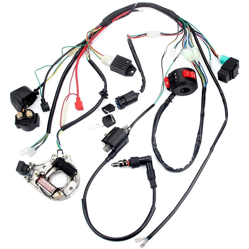 Full Electrical Wiring Harness Kit Fit For Dirt Bike ATV QUAD 50 70 90 110CC with Rectifier Ignition Key Coil CDI Unit enlarge