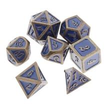 Jeu de dés en métal Durable 7 pièces-jeu mdn jeu de dés en métal massif polyèdre D & D pour jeu de rôle (bleu)