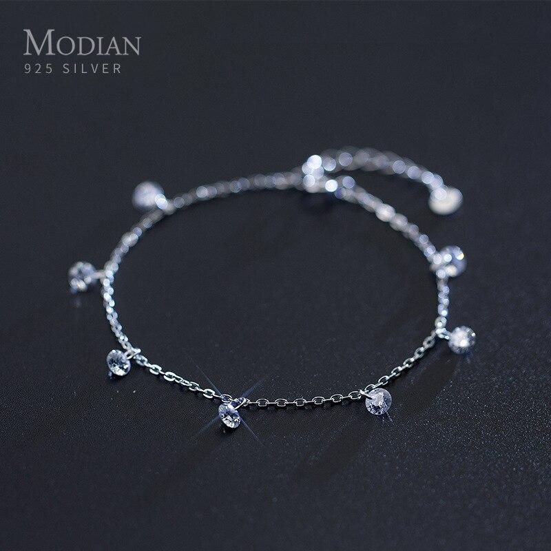 Modian pulseira de prata esterlina 925, bracelete de corrente com fecho geométrico transparente cz, joias femininas