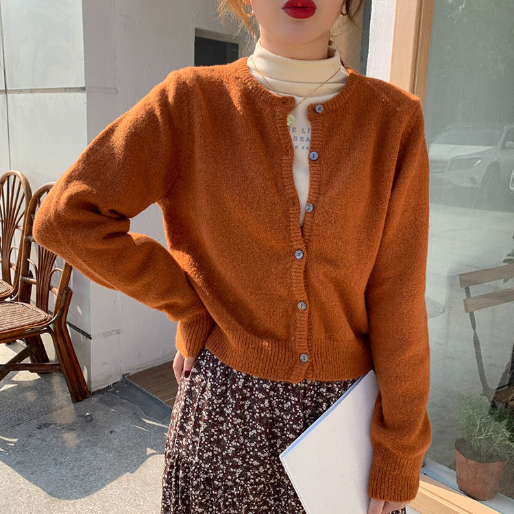 2020 New Knitted Cardigan Women's Autumn Korean Solid Color Loose Sweater Casual Jacket