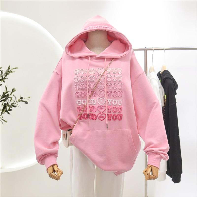 Women's Embroidery Oversize Hoodie Pullovers 2021 Spring Ultra Soft Cotton Streetwear Sweatshirt Plus Size