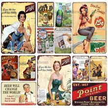 Rétro liqueur bière Plaque épingle Up fille Vintage métal étain signe Shabby mur Art décor Bar Pub marché décor à la maison métal fer affiche