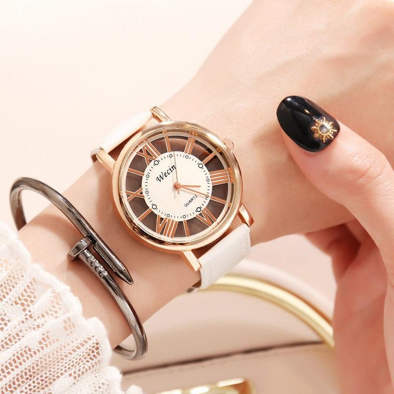 Mulheres de luxo marca moda casual vestido relógios oco para fora senhoras relógio pulseira de couro caso aço inoxidável quartzo relógios femininos