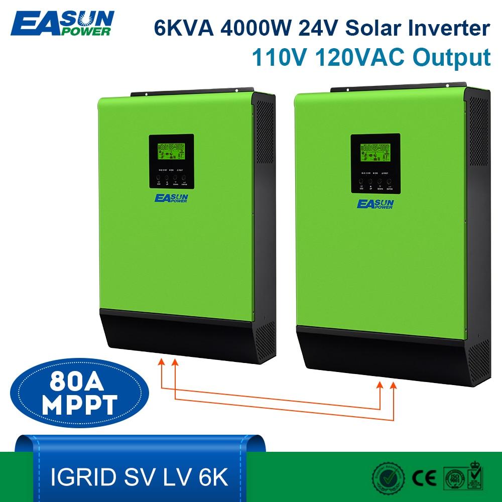 Inversor Solar de 110V con conexión a la red EASUN, inversor 6kVA 24V, inversores de 4800W, inversor híbrido de onda sinusoidal pura MPPT, cargador de CA de 40a