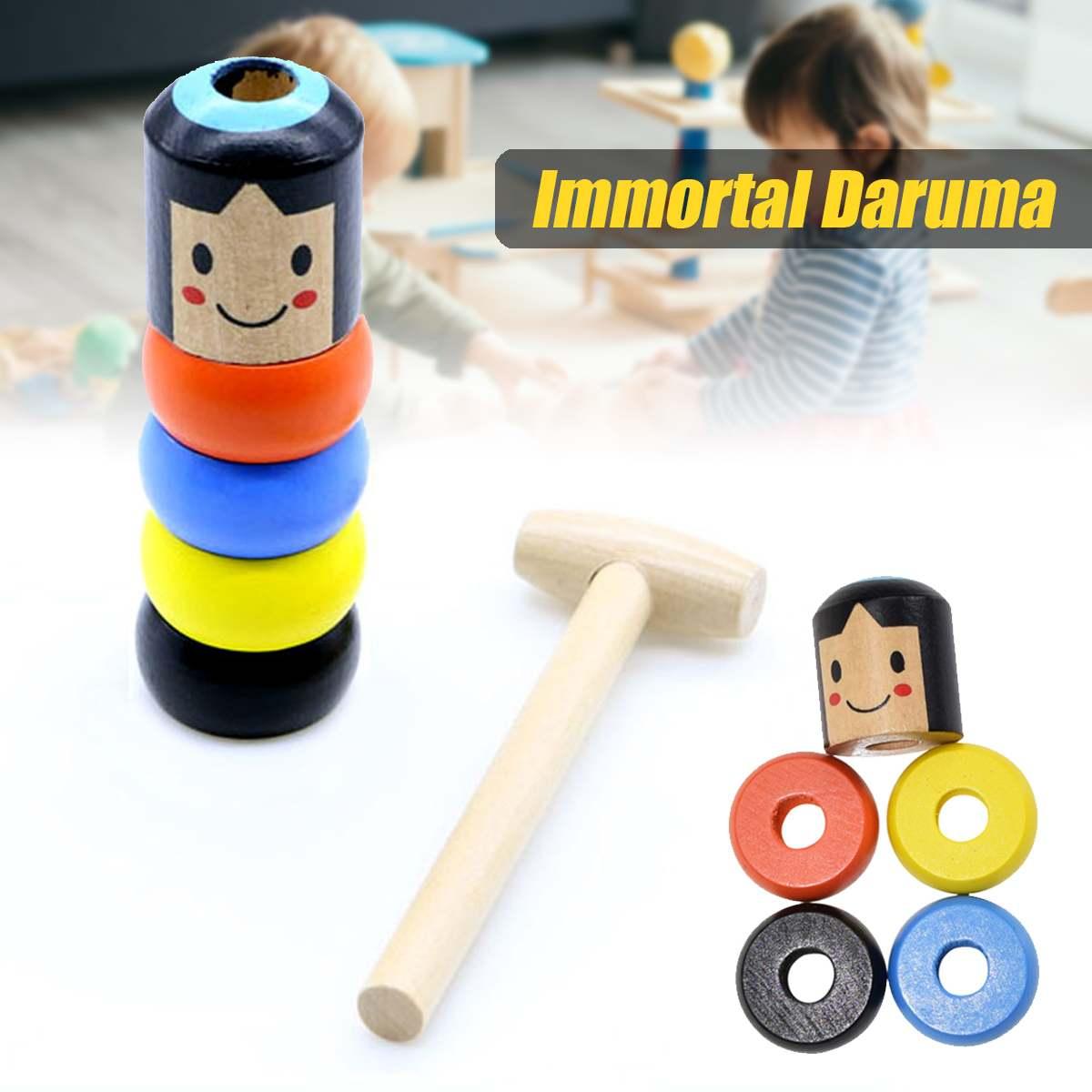 Inmortable Daruma irrompible madera hombre madera mágica juguete trucos de magia Primer plano accesorios mágicos para escenario accesorio de juguete divertido