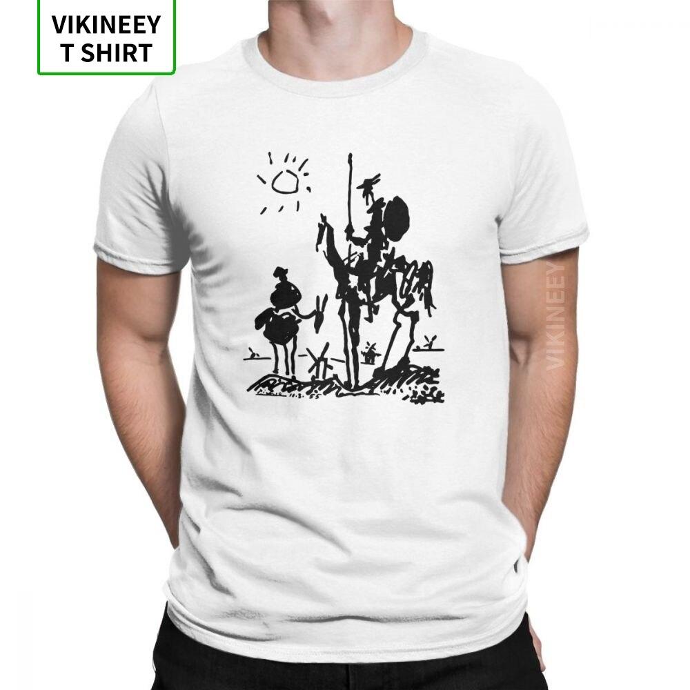 Camisetas graciosas Picasso, camiseta con diseño de caballero Don Quijote, cuello redondo 100% algodón, camisetas de manga corta, ropa de verano