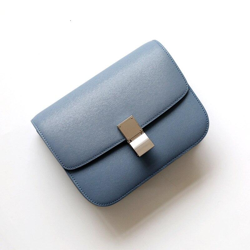 Factory Genuine Leather Women Bag Luxury Design Handbag Famous Brand Fashion Simple Pink Crossbody Tofu Bag for Women 2020 Blue