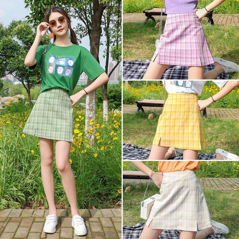 Винтажная юбка-мешок, Корейская цветная клетчатая юбка, женские студенческие шикарные короткие юбки, сексуальные мини-юбки, женские юбки, о... юбки trussardi юбка