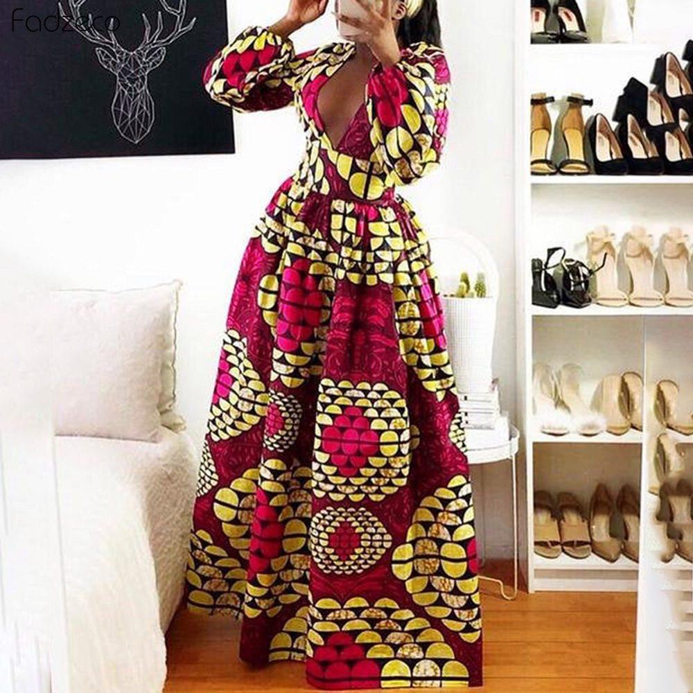 Fadzeco Elegant African Dresses Dashiki Print V Neck Long Robe Dress Vestidos Party Style Bazin Riche Autumn Fashion Sexy Dress