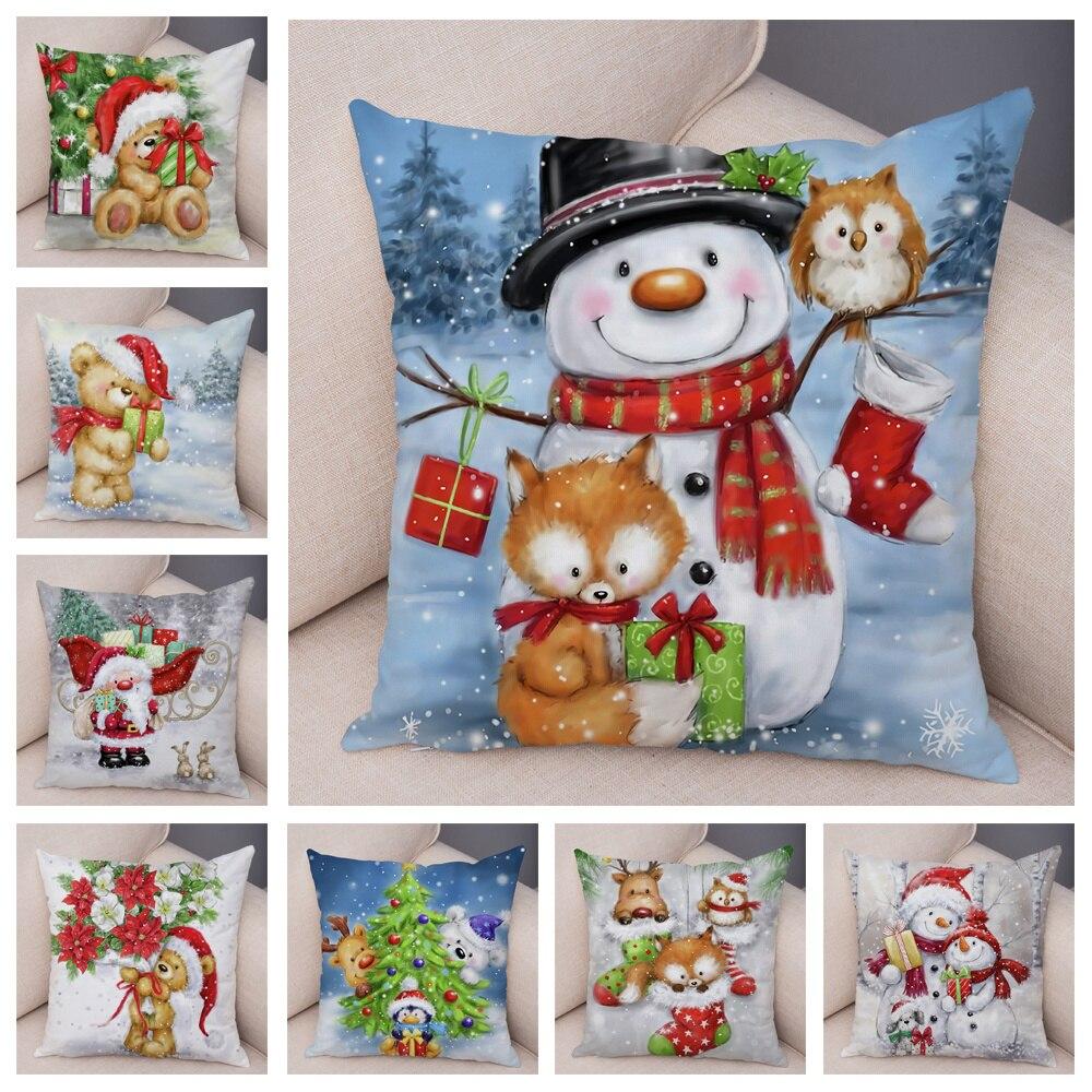 Рождественский чехол для подушки с Санта-Клаусом, милый мультяшный чехол для подушки, чехол для детского дивана 45x45 см, чехол для подушки чехол