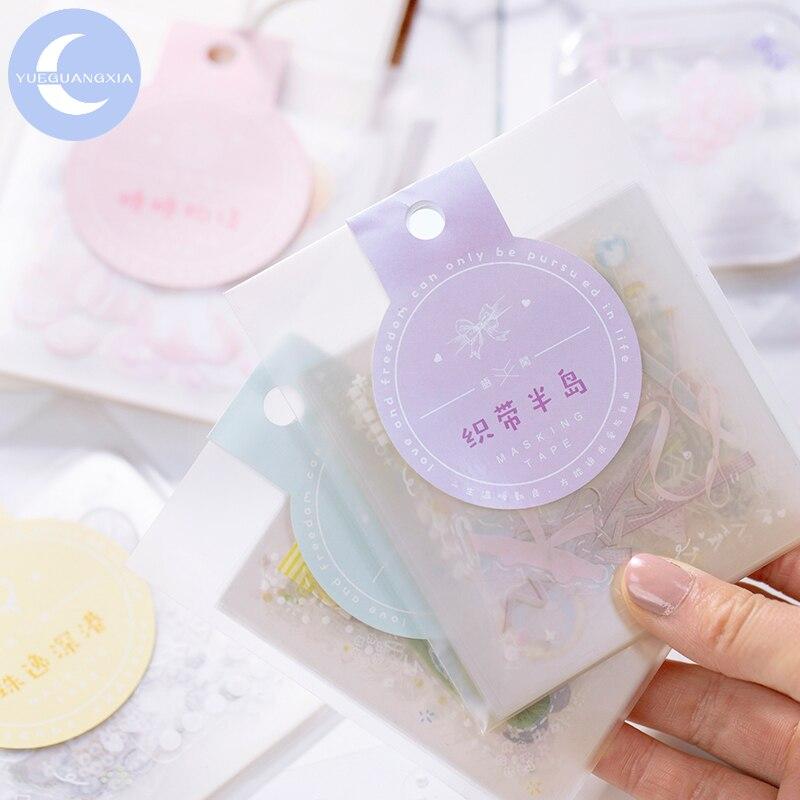 Pegatina de perlas YueGuangXia, 4 diseños, adorable, dulce tejido, bala, diario, PET Deco, pegatinas creativas para niños, fácil de rasgar, 2 unids/pack