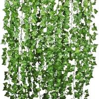 Guirlande de feuilles de lierre artificielles  100 pieces  1 piece  2 4M  fausse plante de vigne  fausses fleurs de feuillage  couronne de lierre vert