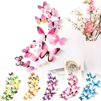 12pcsset 3d butterfly wall sticker pvc folding wings decals mural wall art diy single layer party supplies wedding ornament