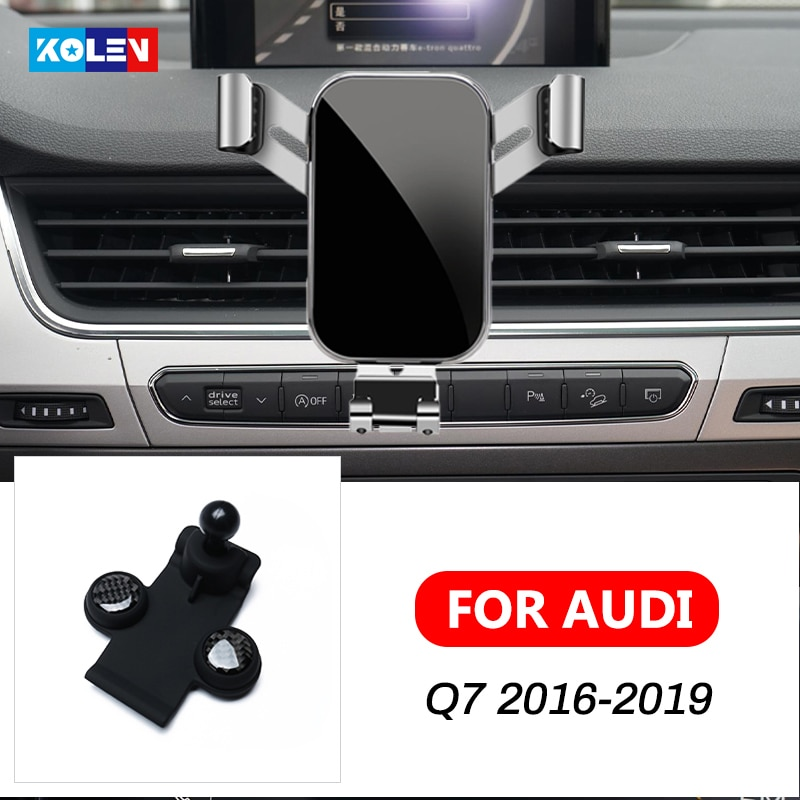 For Audi Q7 2016-2019 Car Mobile Phone Holder Auto Charging Support Gravity Stand GPS Special Mount Navigation Bracket