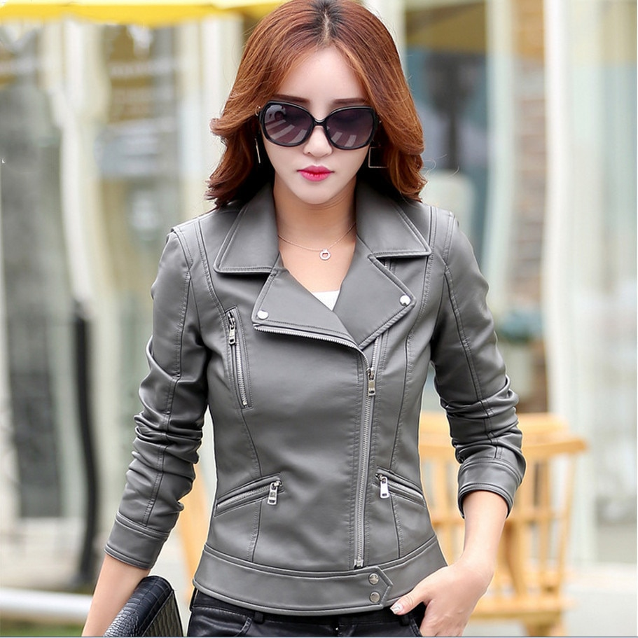 Leather Jackets For Women jaqueta de couro Female Jacket Coat 2017 Autumn New Fashion Plus Size Turn Collar Ladies Outerwear