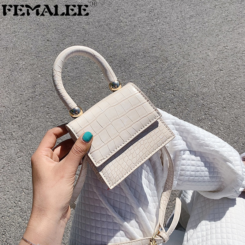 Summer 2020 new mini Handbag crocodile pattern crossbody Flap bag female small Beaded Purse handbags Stone Print shoulder bag