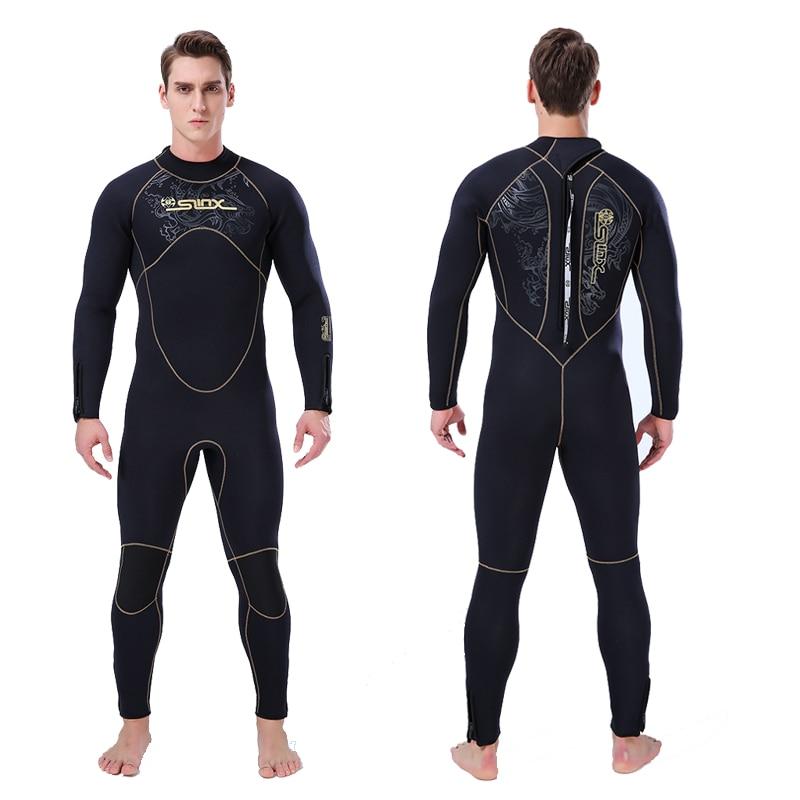Combinaison homme complet épaissir 5mm néoprène polaire à lintérieur garder au chaud pour leau froide natation combinaison de plongée chasse sous-marine grande taille