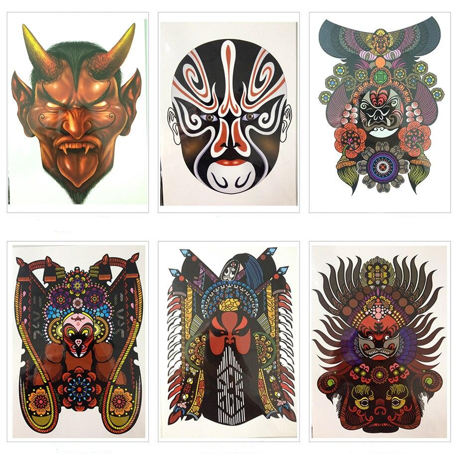 21X15 nuevas pegatinas impermeables novedoso temporal del tatuaje de la belleza fresco colorido de la Ópera de China