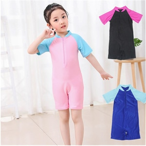 One Piece Short Sleeve Print Swimsuit for Girls Kids Swimwear UV Protection 50+ Youth Children's Beach Bathing Suits