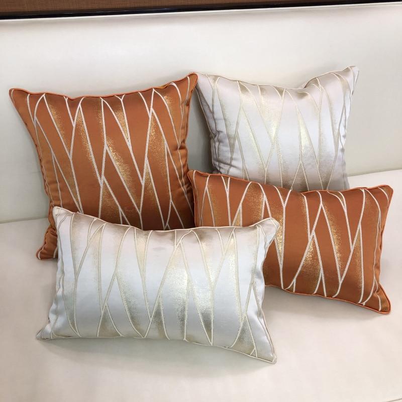 Lüks moda kadife geometrik yeşil turuncu mavi gri minder örtüsü yastık örtüsü yastık kılıfı ev dekoratif kanepe atmak yastıklar
