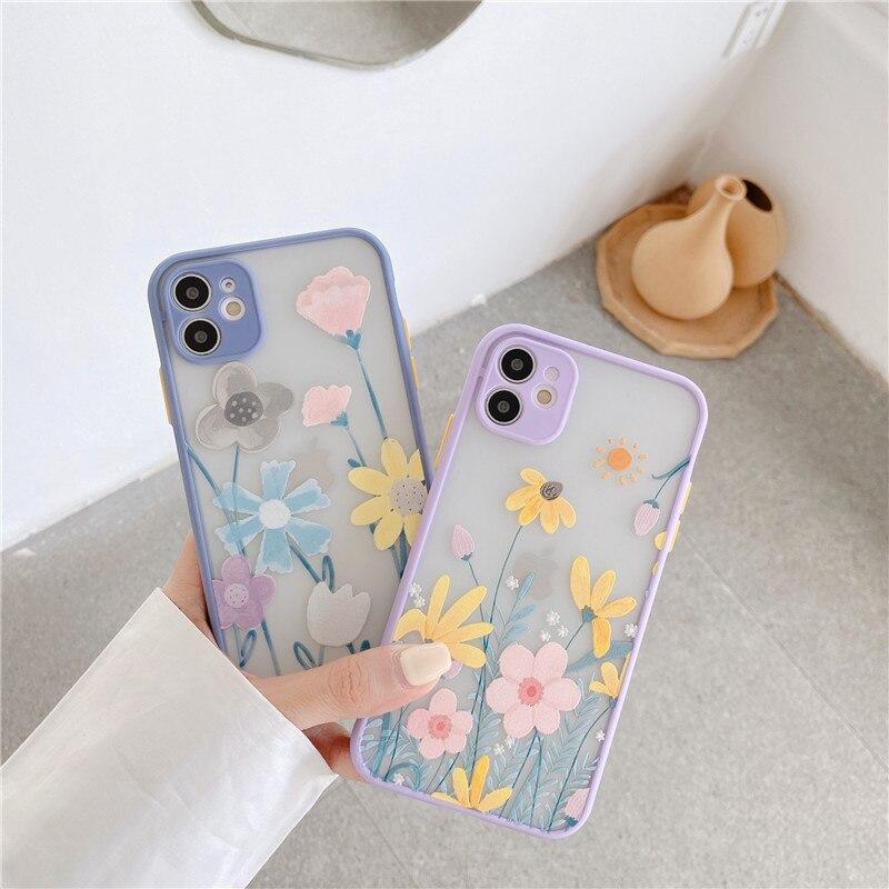 Śliczne ulga kwiat etui na telefony dla iphone SE 2020 7 8 Plus 11 Pro Max X XR XS Max tylna pokrywa kolor moda grube obramowanie miękkie Capa