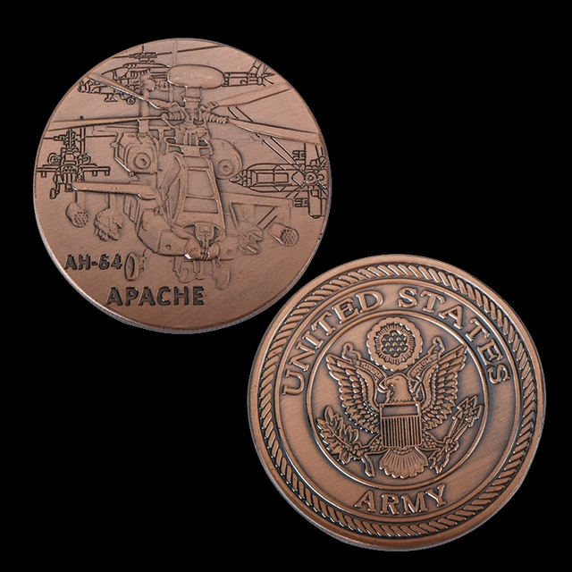United States Armed Bomber AH-64 APACHE Challenge Military Brass Plated Custom Coin For Souvenir Coins Collectibles недорого