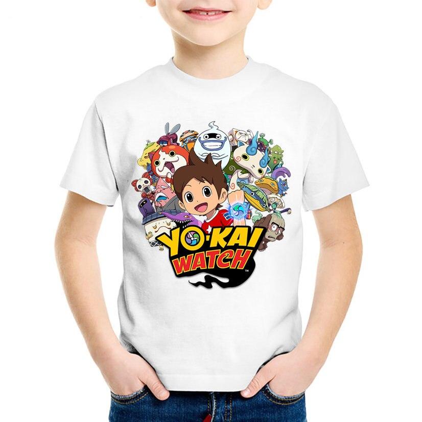 Cartoon Print Yo Kai Watch Children T-shirts Kids Summer Funny Short Sleeve T shirt Boys/Girls Anime