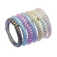 lot 10pcs transparent colorful elastic stretch hair band spiral ponytail ties gum rubber rope thin wire accessories