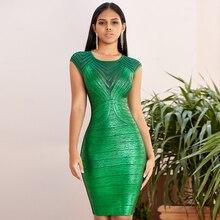 Verano de manga corta de lujo de noche con lentejuelas Vestidos Midi ajustados cuello redondo Sexy elástico verde fiesta nocturna mujeres ropa Vestidos