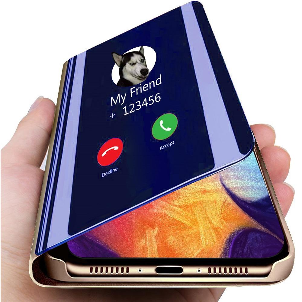 Funda trasera para teléfono móvil de cuero con tapa y espejo inteligente para Samsung Galaxy J7 DUO 2018, funda transparente con vista 360, armadura a prueba de Shcokproof J7DUO Capa