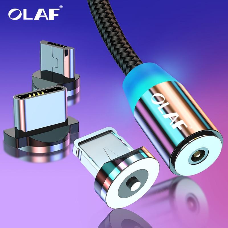 Cabo magnético micro usb tipo c olaf, fio para carregamento rápido de celulares iphone 7, 11, samsung s10, xiaomi USB-C cabo do telefone do led