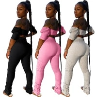 ursuper european and american womens clothing nightclub tube top pleating micro pull sports casual fashion set two piece set