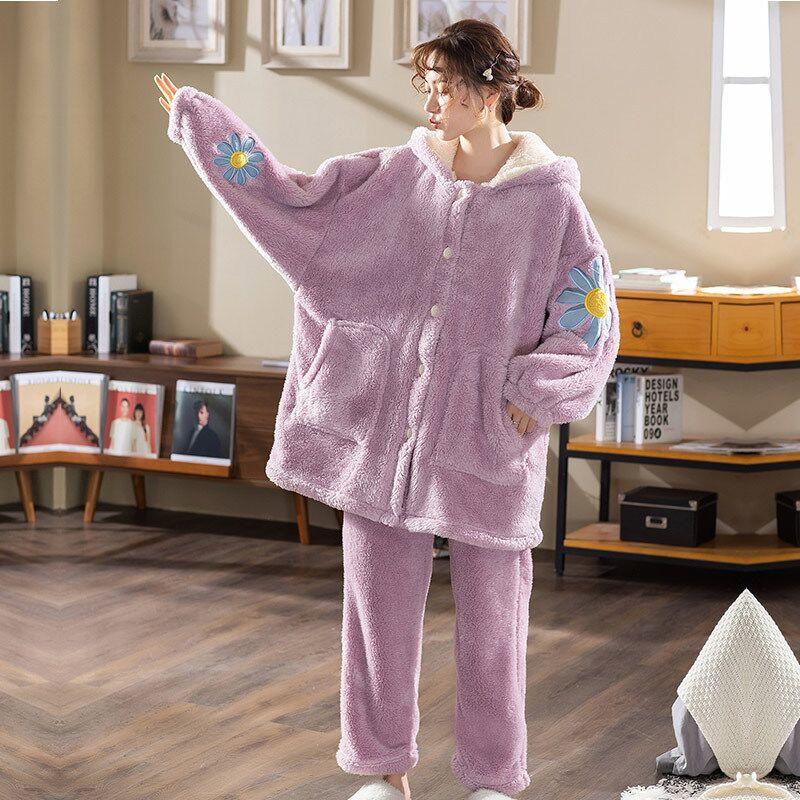 Фланелевая пижама Fdfklak большого размера, женская утепленная Пижама, Коралловая флисовая Студенческая зимняя Пижама, свободная Пижама с кап...