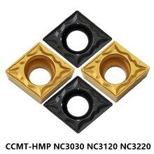 Insertos de corte de carburo CCMT09T3 CCMT060204 CCMT09T304 CCMT09T308 CCMT120404 CCMT120408 HMP NC3030 NC3120 NC3220 CNC para acero