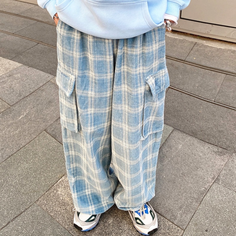 Corduroy Ins Japanese-Style Retro Wide Leg Straight Large Pocket Plaid Workwear Casual Pants Men and
