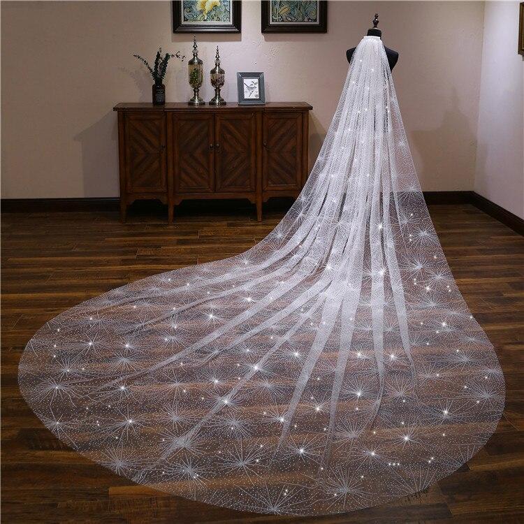 Velo de novia largo con lentejuelas ostentosas a la moda velo de champán dorado de estrella velo de novia marfil velo de la cabeza 3,5 M de cabeza larga